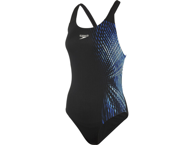 speedo IllusionWave Placement Powerback Badeanzug Damen black/blue